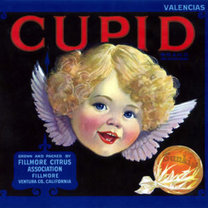 Cupid Valencias citrus label