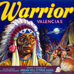 Warrior Brand Valencias citrus label